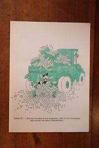 1955 Albert Dubout Gravure Couleurs Code De La Route à Encadrer Décoration N°21 CaractéRistiques Exceptionnelles