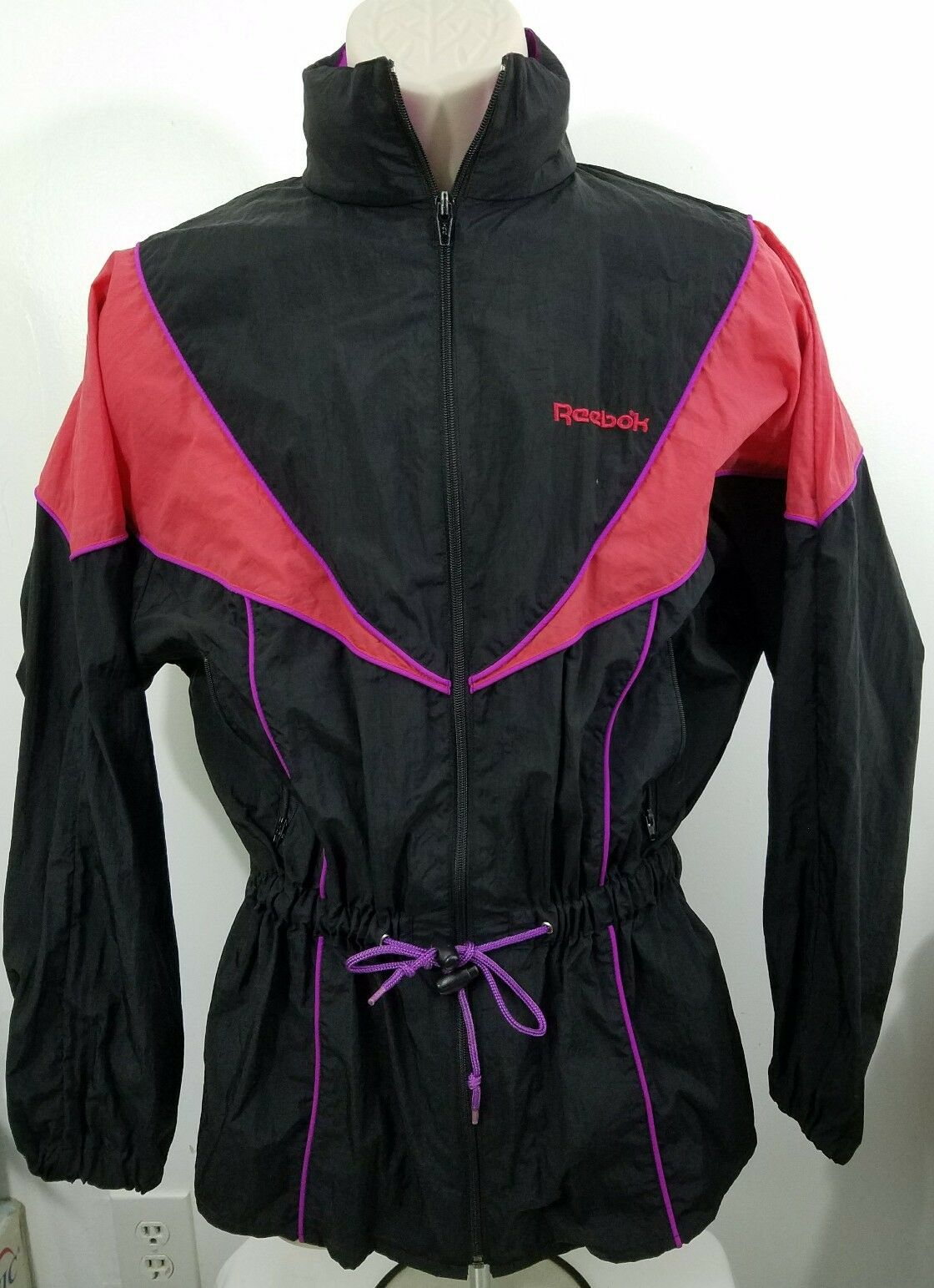 Vintage Neon Reebok windbreaker full zip size small 1378