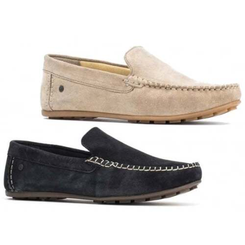 Base London HENTON Mens Leather Casual Slip On Driving Moccasin Loafers Shoes