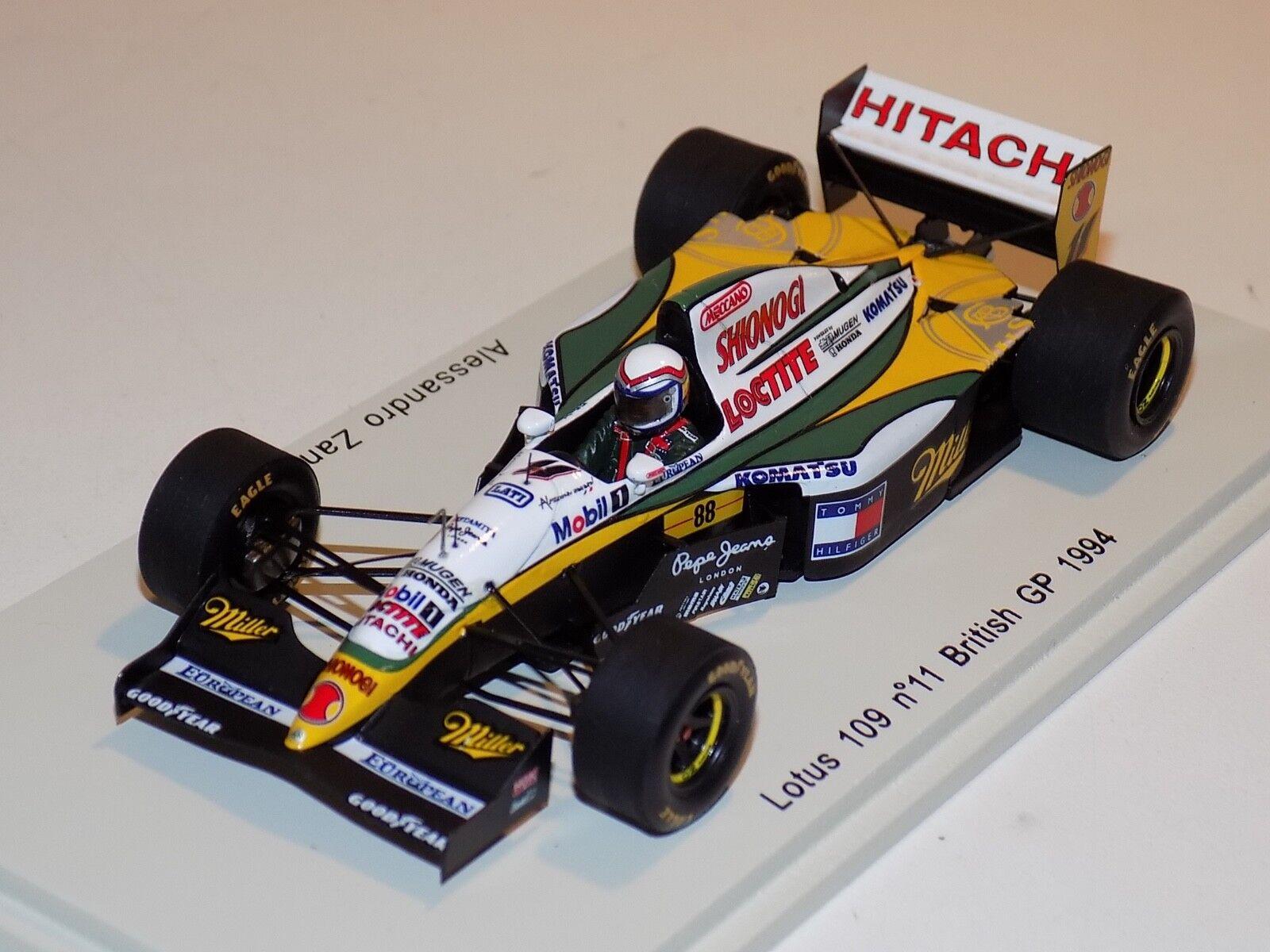 increíbles descuentos 1 43 43 43 Spark F1 Lotus 109 coche  11 British Grand Prix 1994 Alessandro Zanardi S1671  barato
