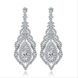 All-AAA-Cubic-Zirconia-CZ-Pierced-Earrings-Wedding-Party-Prom-Pageant-5cm-Long