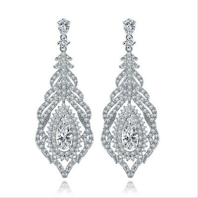 All AAA Cubic Zirconia CZ Pierced Earrings Wedding Party Prom Pageant 5cm Long