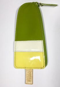 furla popsicle coin purse olive green off white yellow patent