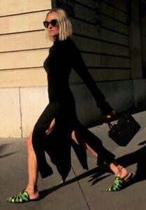 ZARA NEW 2021 INFLUENCER LIMITED EDITION BLACK FRINGE DRESS SIZE S