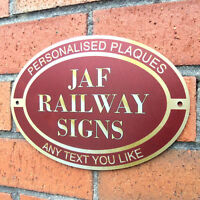 RAILWAY STATION SIGN, Personalised Metal Sign, Rating Plate, Outdoor Unbreakable