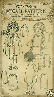 "18/"" Antique  Doll Clothing Pattern  #1921B"