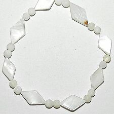 """MP1891f White 13x8mm Diamond & 4mm Round Mother of Pearl Oyster Shell Beads 16"""""""