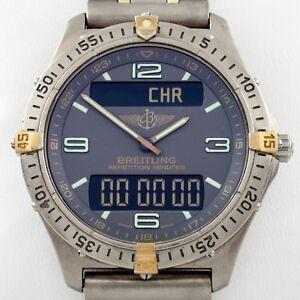 Breitling-Aerospace-Titanium-Two-Tone-Men-039-s-Quartz-Watch-w-Case-F65062