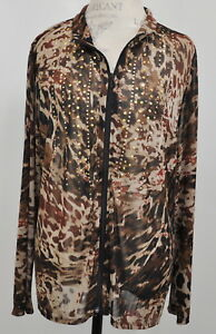 Chico-039-s-Travelers-3-XL-16-Semi-Sheer-Gold-Studded-Zip-Blouse-Shirt-Top-Tunic