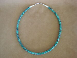 Native-American-Jewelry-Hand-Strung-Single-Strand-6-MM-Turquoise-Rondell-Necklac