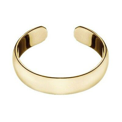 14K Gold over Sterling Silver 4mm Polished Plain Adjustable Size Toe Ring