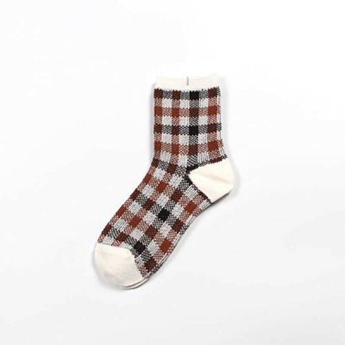 Harajuku Cotton Plaid Ankle Socks Women Winter Socks Kawaii Knit Females Socks