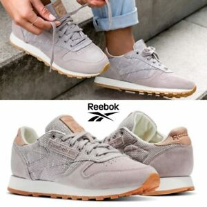 e872b1d0674 Image is loading Reebok-Classic-Leather-Ebk-Shoes-Sneakers-Grey-Beige-