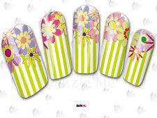 Calcomanías de transferencia de Agua Pegatina de Arte en Uñas Flores Floral Rayas (DC176)
