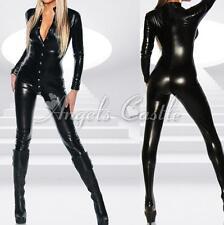 Women Sexy PVC Leather Wet Look Bodysuit Catsuit Costume Halloween Fancy Dress