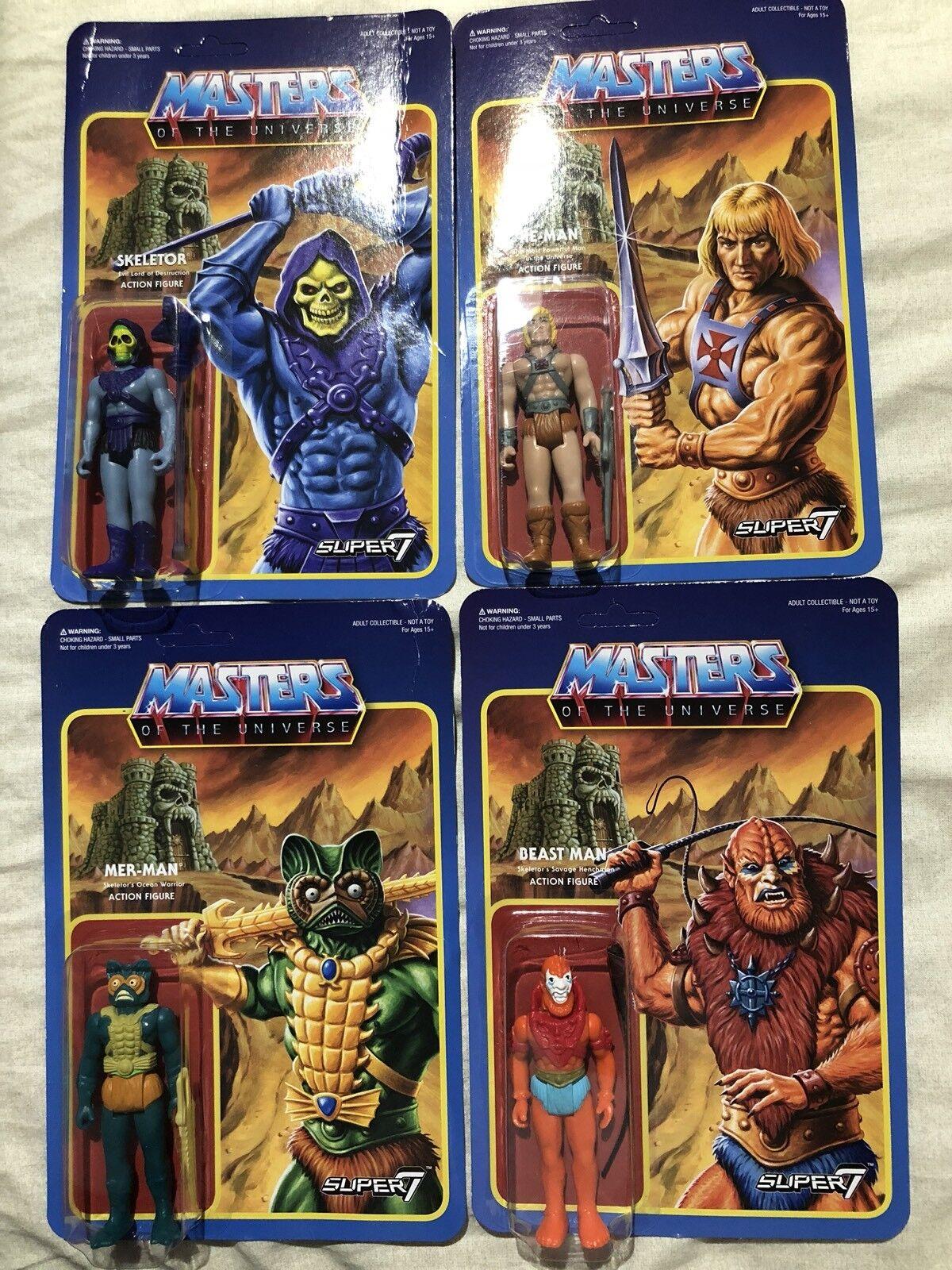 Masters Of The Universe Super 7 Set Di 4 Skeletor He-man Merman Beast Man