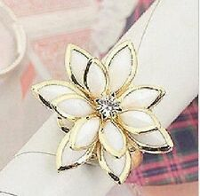 Lilienring Ring GOLD -farbig Lilie Blume Blüte Lotus weiß VARIABEL einstellbar