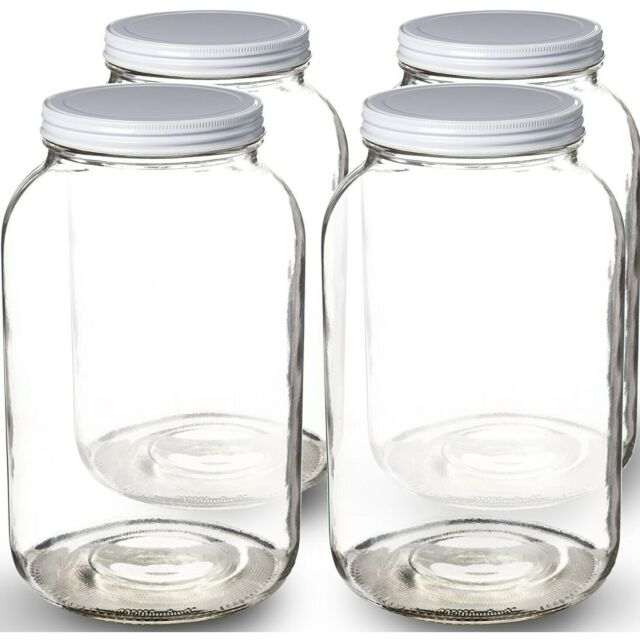 1-Gallon Glass Jar Wide Mouth with Airtight Metal LidMason White