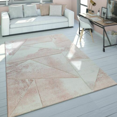 Rug Living Room Pale Pink Short-Pile Pastel Colours Marble Design Mottled 3D Pat