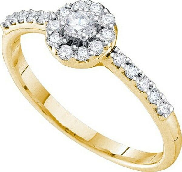 Ladies 14k Yellow gold Ladies Solitiare Round Diamond Engagement Wedding Ring