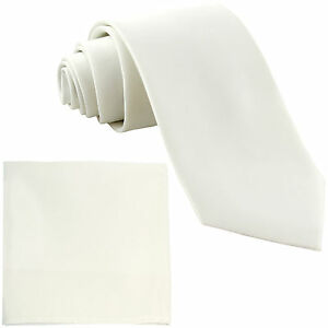 """Ehrlichkeit Neu Polyester Herren 2.5 """" Krawatte & Taschentuch Formelle Hochzeit Party Creme Herren-accessoires Kleidung & Accessoires"""