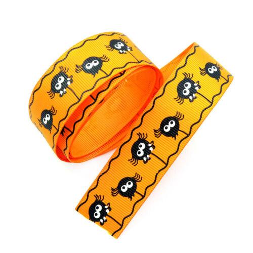 25mm Halloween Pumpkin//Spooky//Bats//Spider Gift Packing Grosgrain Ribbon DIY