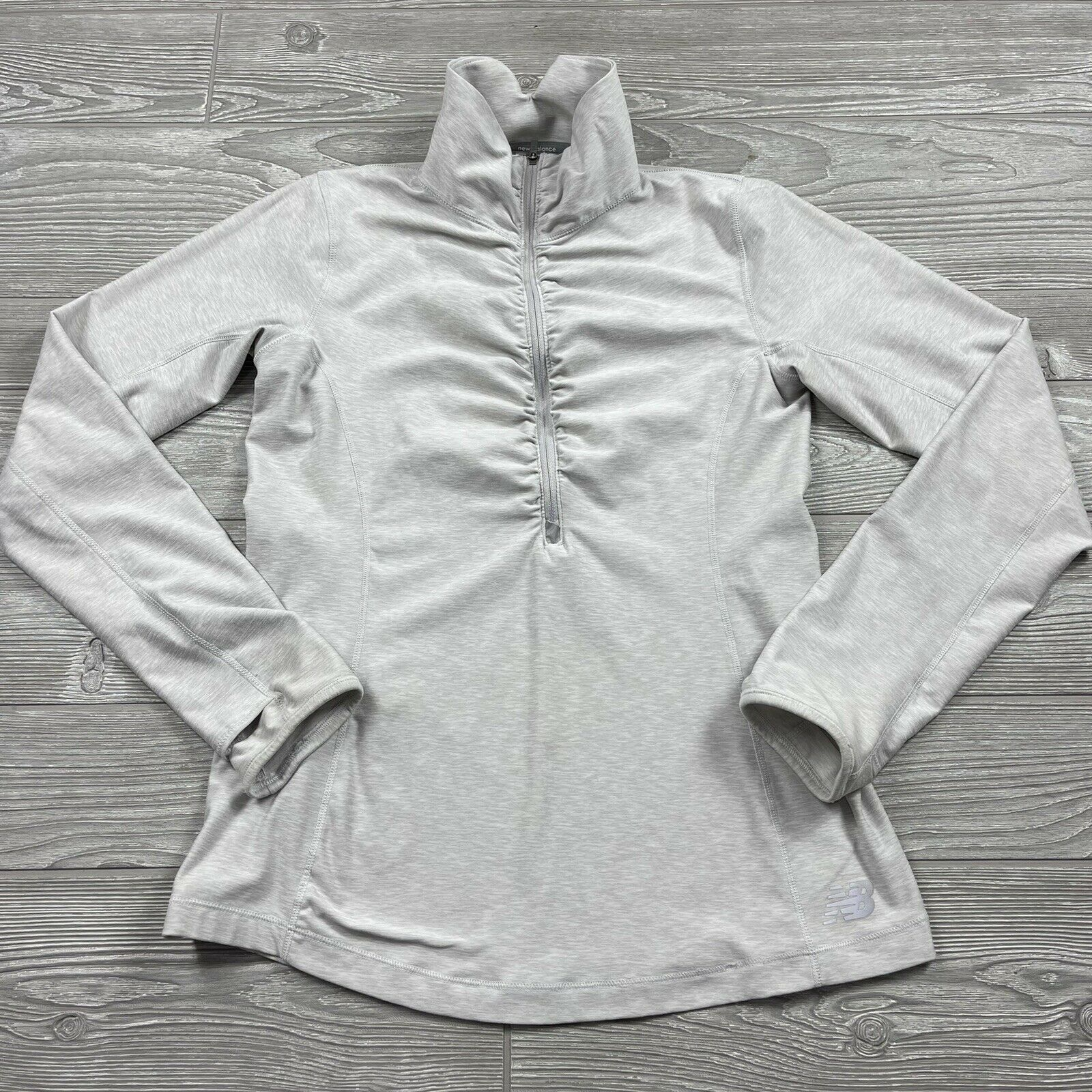 New Balance Shirt Women's Small Half Zip Gray Light Pullover Mock Scrunch Aa53