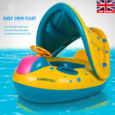 Adjustable Inflatable Sunshade Baby Kid Float Seat Boat Swim Pool Ring Wheel UK
