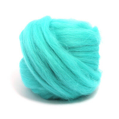 50g DYED MERINO WOOL SPEARMINT GREEN BLUE DREADS 64's SPINNING FELTING ROVING