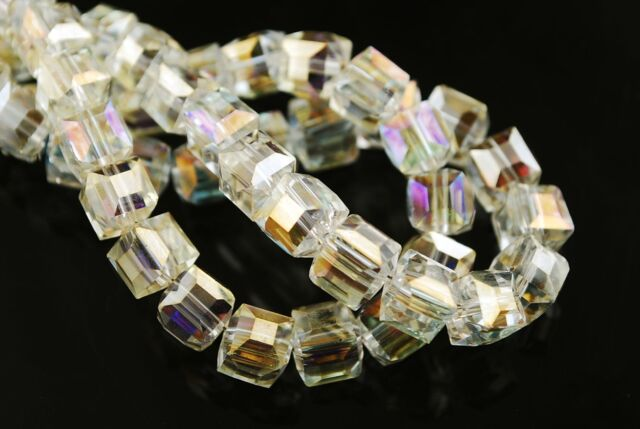 30pcs 6mm Cube Square Faceted Crystal Glass Charms Loose Spacer Beads Citrine