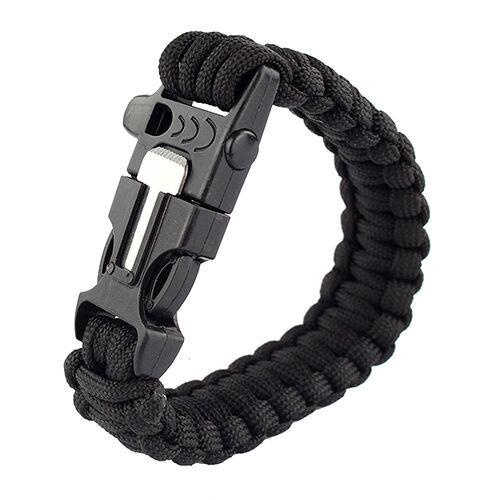 Survival Outdoor Bracelet Paracord Flint Fire Starter Scraper Whistle Gear Black