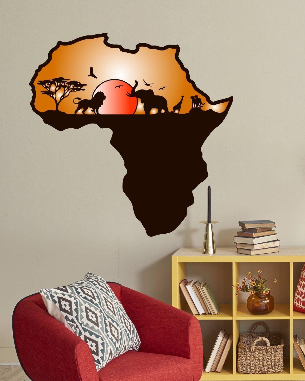 Wall Decals African Safari Full Farbe Murals Animals Jungle Map Nursery Art EN28
