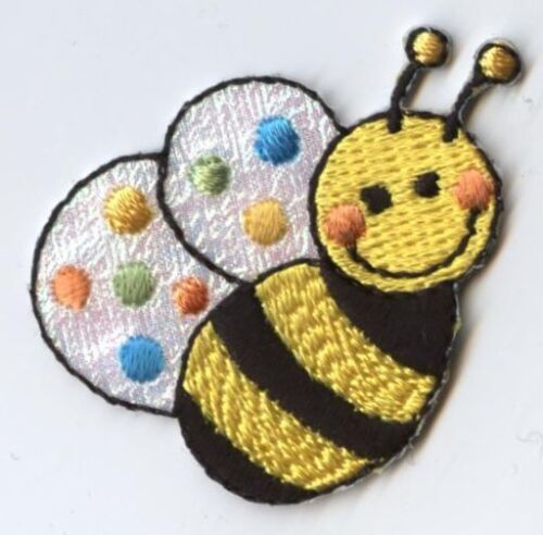 Shimmery//Childrens Bee Iron on Applique//Embroidered Patch Small