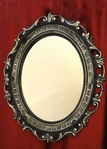 Wandspiegel Oval Barock Schwarz Silber Antik Rahmen Oval 58x68 Antik Art3041