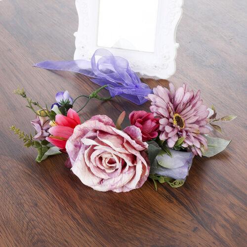 Damen Rose Blumen Kranz Braut Hochzeit Girlande Party Beach Haarband Haarschmuck