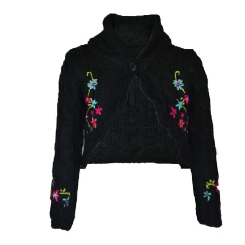 "GIRLS Ex /""Adams/"" Knitted Cardigan Hand Flower Embroidery Detail AGE 2-5 Years"