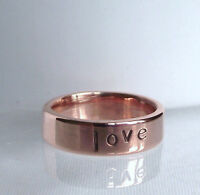 """Gorgeous Handmade Recycled Solid Copper Personalised Inspirational """"love """" Ring"""
