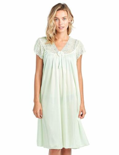 Details about  / Women/'s Fancy Lace Neckline Silky Tricot Nightgown