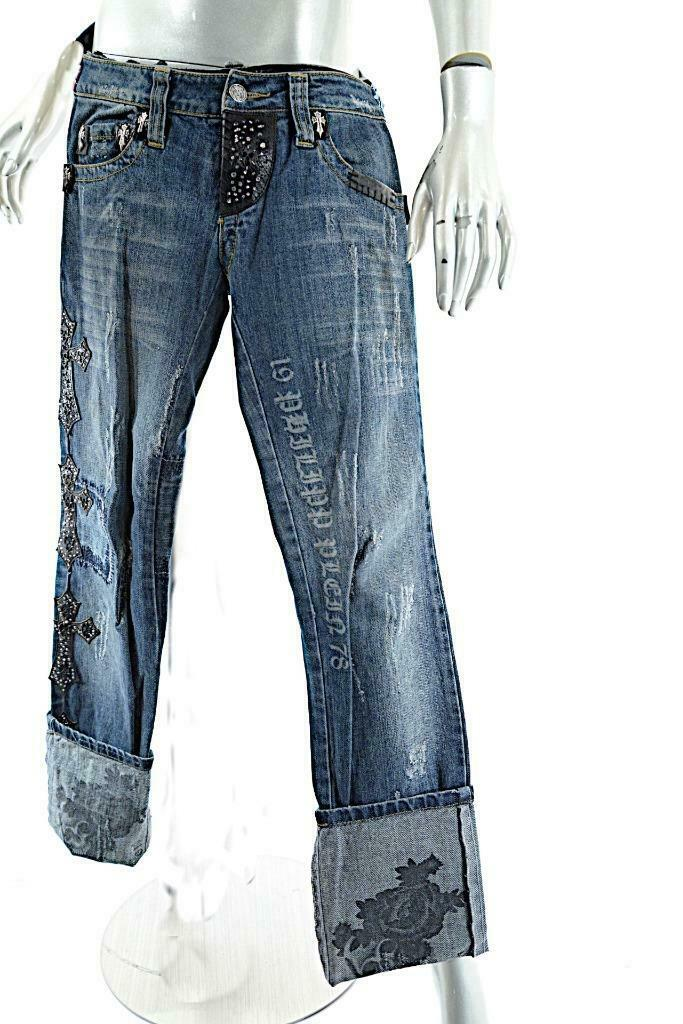 PHILIPP PLEIN Distress Denim 100% Cotton Metal Crystal Leather Cuffed Jeans Sz S