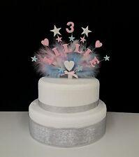 Cuore e stelle con piume ogni nome e età compleanno/battesimo topper per torta