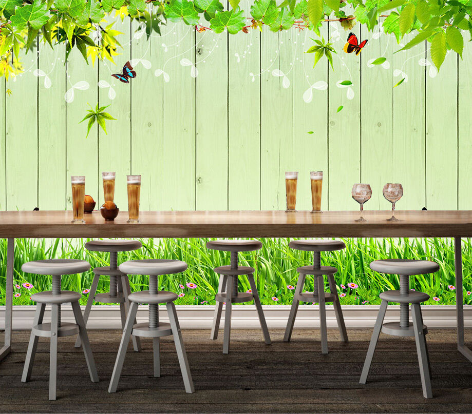 3D Green leaf vines butterfly Wall Paper Print Decal Wall Deco Indoor wall Mural
