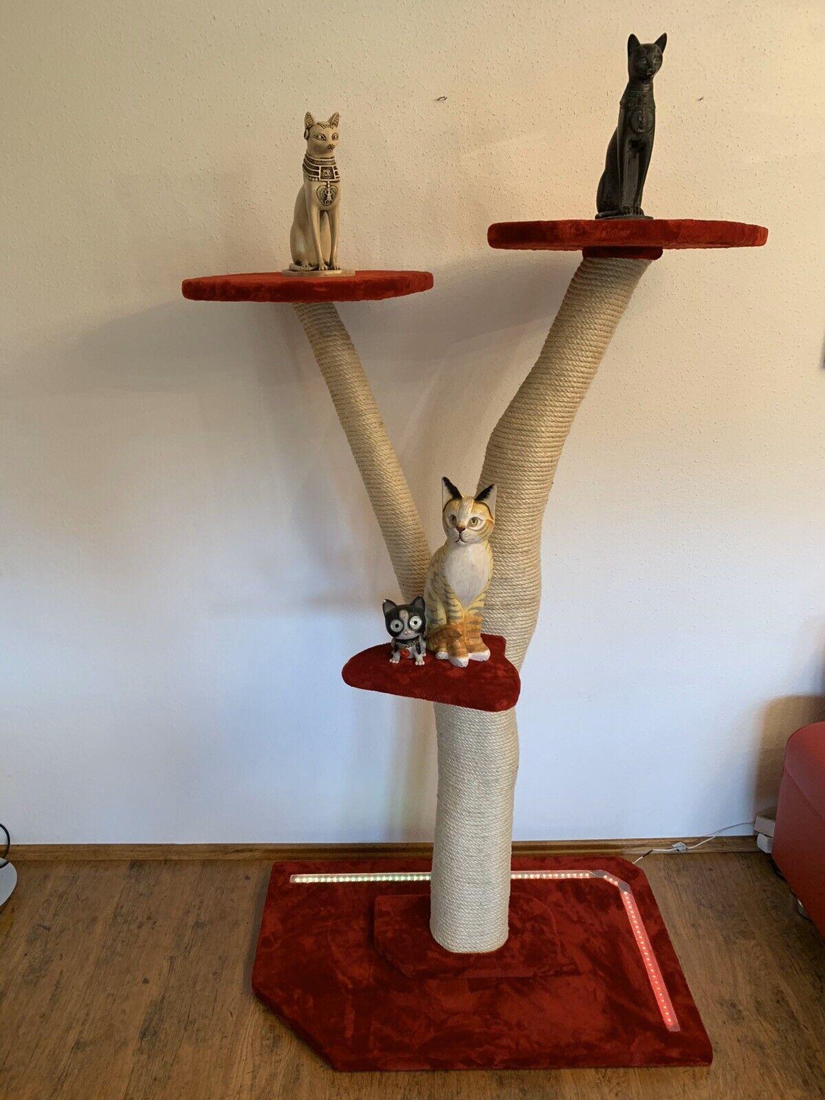 LED Echtholz ( Naturstamm ) Katzen Kratzbaum in Rot...