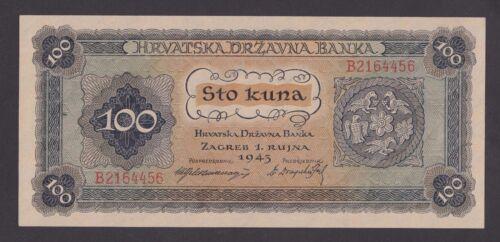 NDH USTASHA CROATIA 100 Kuna 1943  UNC   P11  WWII