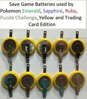 10 Pokemon Emerald Sapphire Ruby Yellow Puzzle Card Save Game Batteries Cr1616