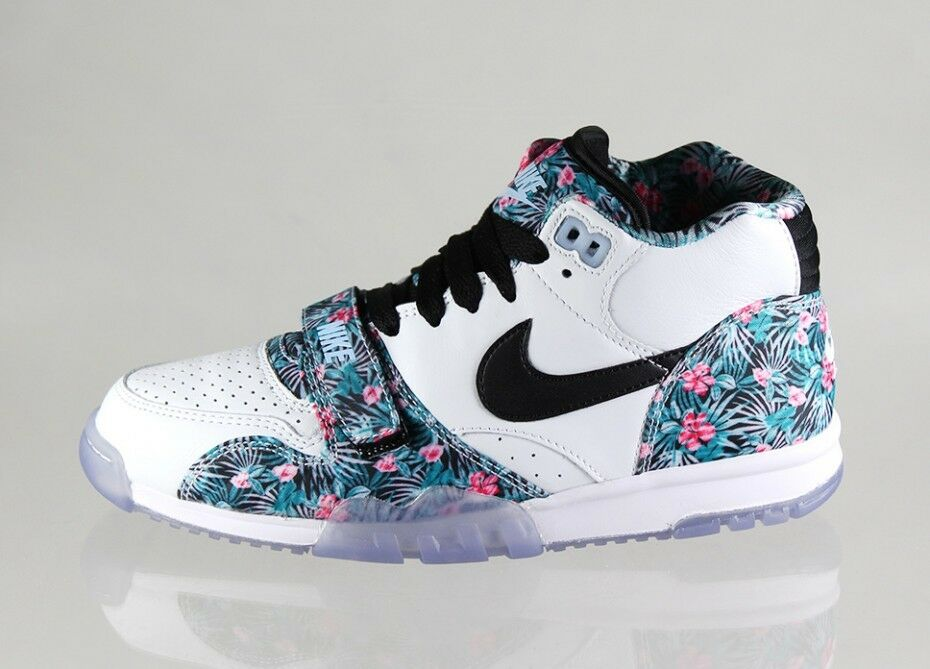 Nike AIR TRAINER 1 MID PREMIUM PB QS PRO BOWL HAWAII FLORAL White Teal PINK 9