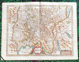 XVII-eme-La-Bresse-Superbe-Carte-par-J-Janssonius-56-5-x-42-cm-Editee-en-1640