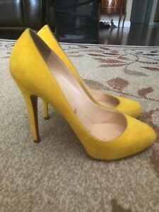 the best attitude 1746f 95e53 Details about Christian Louboutin Yellow Suede Declic 120 39 Pump Heel  Stiletto 8.5 9