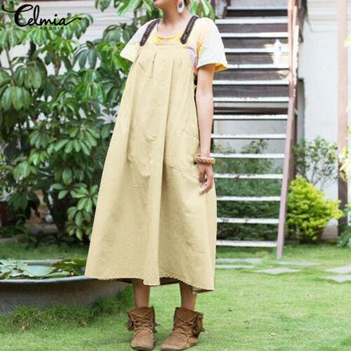 Womens Overall Sleeveless Dungarees High Waist Loose Pinafore Maxi Summer Dress