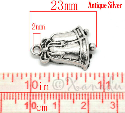 Christmas Jingle Bells 23mm Antiqued Silver Plate Charms C5384-10 20 Or 50PCs