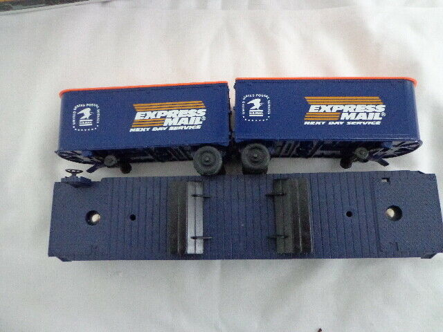 O  0-27 LIONEL SPECIALTY CAR USPS EXPRESS MAIL PUP TRAILERS ON FLAT CAR 6-6531